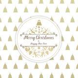 Jul och för kortsvart för lyckligt nytt år den guld- symbolen klumpa ihop sig Royaltyfri Fotografi