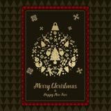 Jul och för kortsvart för lyckligt nytt år den guld- symbolen klumpa ihop sig Royaltyfri Foto