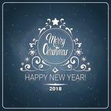 Jul och för reklambladmeddelande för nytt år 2018 ferie Logo Design för bakgrund för bräde för krita royaltyfri illustrationer