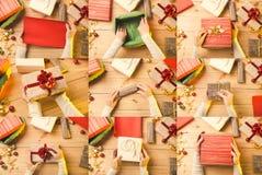 Jul- och feriecollage presents arkivbild