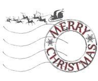 Jul och för temastolpe för nytt år stämpel Arkivfoto