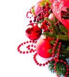 Jul och garneringar för nytt år Arkivbild