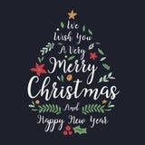 Jul och hälsning- eller inbjudankort för nytt år Jul le royaltyfri illustrationer
