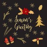 Jul och hälsningkort för nytt år, typografisk bakgrund Royaltyfria Foton