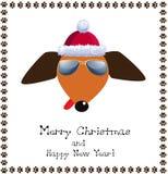 Jul och hälsningkortet för nytt år dog iklädd röd santa ` s Arkivfoton