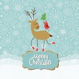 Jul och hälsningskort för nytt år vektor illustrationer