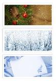 Jul och hälsningskort för nytt år Arkivfoto