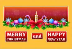 Jul och hälsningskort för nytt år stock illustrationer