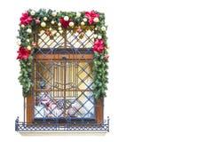Jul och helgdagsaftonferie för nytt år s planlägger fönster för version för julillustrationraster Arkivbild