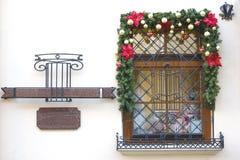 Jul och helgdagsaftonferie för nytt år s planlägger fönster för version för julillustrationraster Fotografering för Bildbyråer