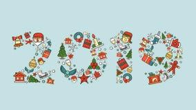 Jul och illustrationer för nytt år för ferierna royaltyfri bild