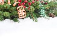 Jul och kant för nytt år Arkivfoto