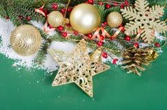 Jul och kant för nytt år på snow Royaltyfria Bilder