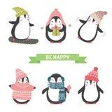 Jul och kort för nytt år med gulliga pingvin i olik koagulering vektor illustrationer