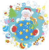 Jul och kort för nytt år med Santa Claus royaltyfria bilder