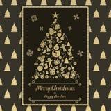 Jul och kortet för lyckligt nytt år svärtar den guld- symbolen Arkivbilder