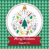 Jul och kortsymbol för lyckligt nytt år Royaltyfri Fotografi