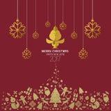 Jul och lyckligt nytt år 2017 card röd guld Royaltyfria Foton