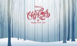 Jul och lyckligt nytt år, typografi, Xmas-bakgrund Royaltyfri Fotografi
