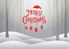 Jul och lyckligt nytt år, typografi, Xmas-bakgrund med w Fotografering för Bildbyråer