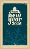 Jul och lyckligt nytt år 2016 Vektortappningillustration för hälsningkortet, affisch, flayer, rengöringsduk, baner Gammal pappers Royaltyfria Bilder