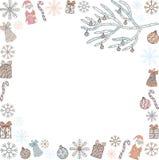 Jul och mall för nytt år Ramen av Santa Clauses, julgranfilialer, gåvor, sötsaker, snöflingor, klockor och Christm stock illustrationer