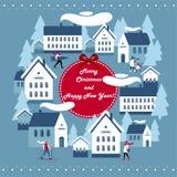 Jul och nyårsafton royaltyfri illustrationer