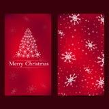 Jul och nya år kort med röd bakgrund royaltyfri illustrationer