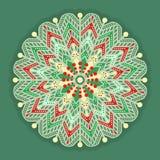 Jul och nya år retro snöflingasymbol Tappningmodell som isoleras på grön bakgrund Royaltyfri Bild