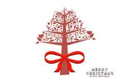 Jul och nya år vit bakgrund med julgranen Arkivbild