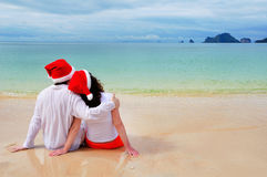 Jul och nytt år på den tropiska stranden Royaltyfri Fotografi
