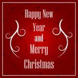 Jul och nytt år som är typografiska på Xmas-bakgrund med vinterlandskap med snöflingor stock illustrationer