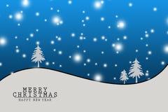 Jul och nytt år, Xmas-bakgrund med vinterlandskapet med snöflingor, glad julkort illustration Arkivbild