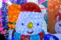 Jul och nytt års snögubbe Royaltyfria Foton
