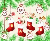 Jul och rabatter för ` s för nytt år stock illustrationer