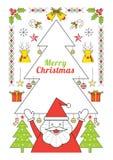 Jul och Santa Claus, linje stilaffisch Vektor Illustrationer