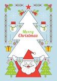 Jul och Santa Claus, linje stilaffisch Royaltyfri Illustrationer