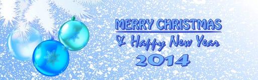 Jul och snöflinga för nytt år Arkivbild