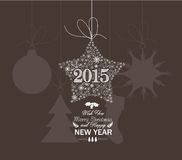 Jul och stjärnasnöflingor för lyckligt nytt år Fotografering för Bildbyråer
