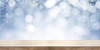 Jul och temabakgrund för nytt år Trätabell med winte Arkivbilder