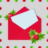 Jul och tomt kort för nytt år med det röda kuvertet Royaltyfria Bilder