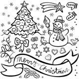 Jul och uppsättning för illustration för vinterferier Arkivbild
