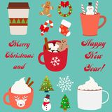 Jul och uppsättning för lyckligt nytt år Lyckliga symboler för nytt år som för delstiker för design den trevliga mallen som använ vektor illustrationer