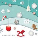 Jul och vinterbakgrund för lyckligt nytt år utklipplager för papper 3d med dekorativa beståndsdelar stock illustrationer