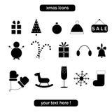 Jul och vintersamling av symboler. Royaltyfri Bild
