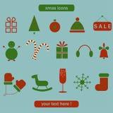 Jul och vintersamling av symboler. Royaltyfria Foton