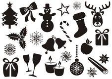 Jul och vintersymboler stock illustrationer