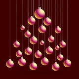 Jul och vykort för nytt år med bollar, kontur av julträdet Kort för vektorillustrationhälsning Symbol av ferie, Ch Royaltyfri Fotografi