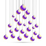Jul och vykort för nytt år med bollar, kontur av julträdet Kort för vektorillustrationhälsning Symbol av ferie, Ch Arkivbilder