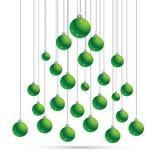 Jul och vykort för nytt år med bollar, kontur av julträdet Kort för vektorillustrationhälsning Symbol av ferie, Ch Royaltyfria Foton